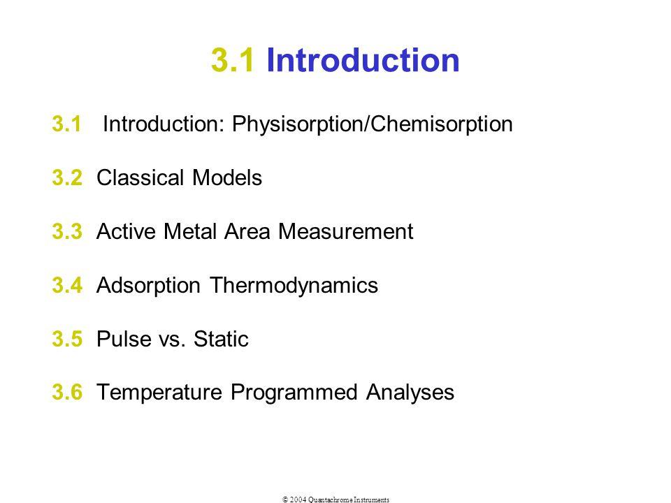 © 2004 Quantachrome Instruments 3.1 Introduction 3.1 Introduction: Physisorption/Chemisorption 3.2Classical Models 3.3Active Metal Area Measurement 3.