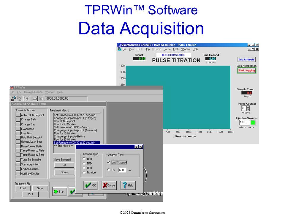 © 2004 Quantachrome Instruments TPRWin Software Data Acquisition