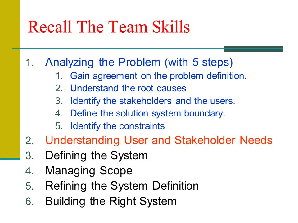 Recall The Team Skills 1.