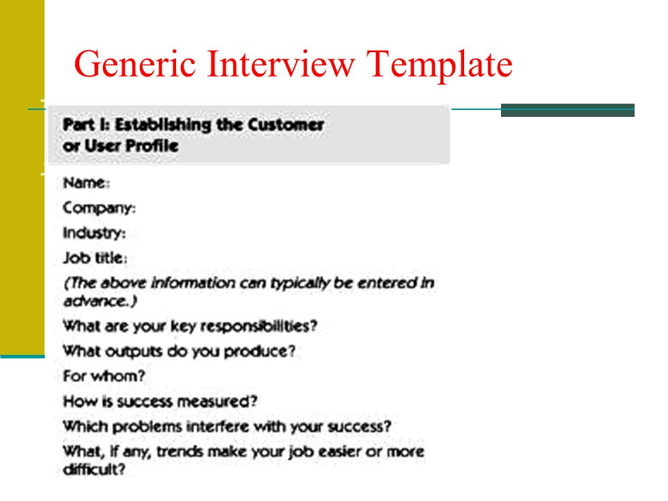 Generic Interview Template