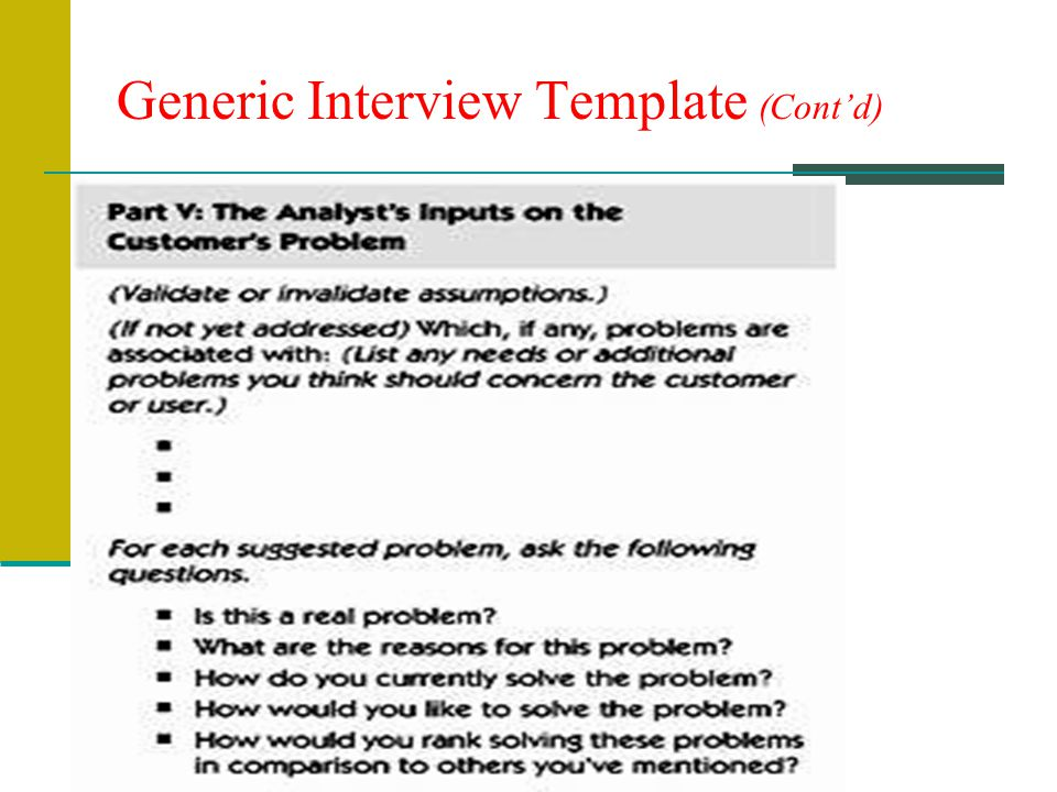 Generic Interview Template (Contd)