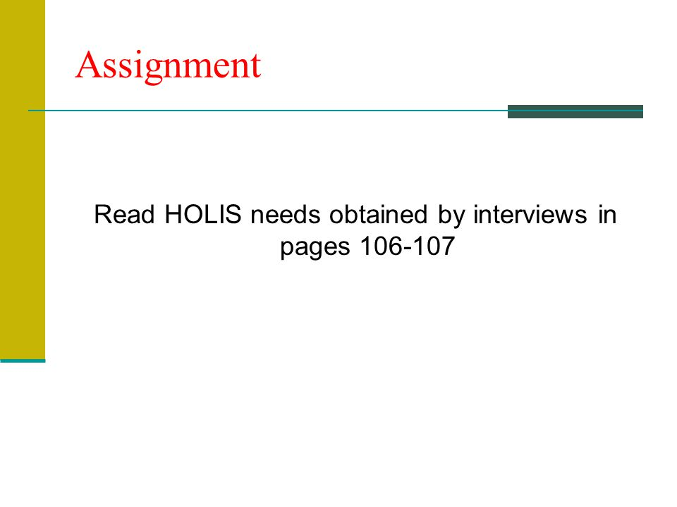 Assignment Read HOLIS needs obtained by interviews in pages 106-107