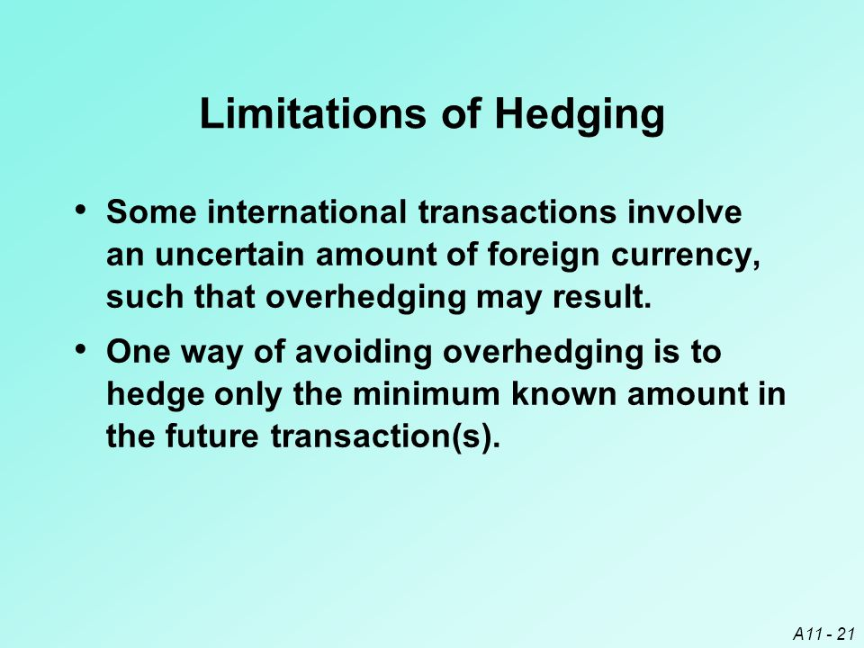 A11 - 21 Limitations of Hedging Some international transactions involve an uncertain amount of foreign currency, such that overhedging may result.