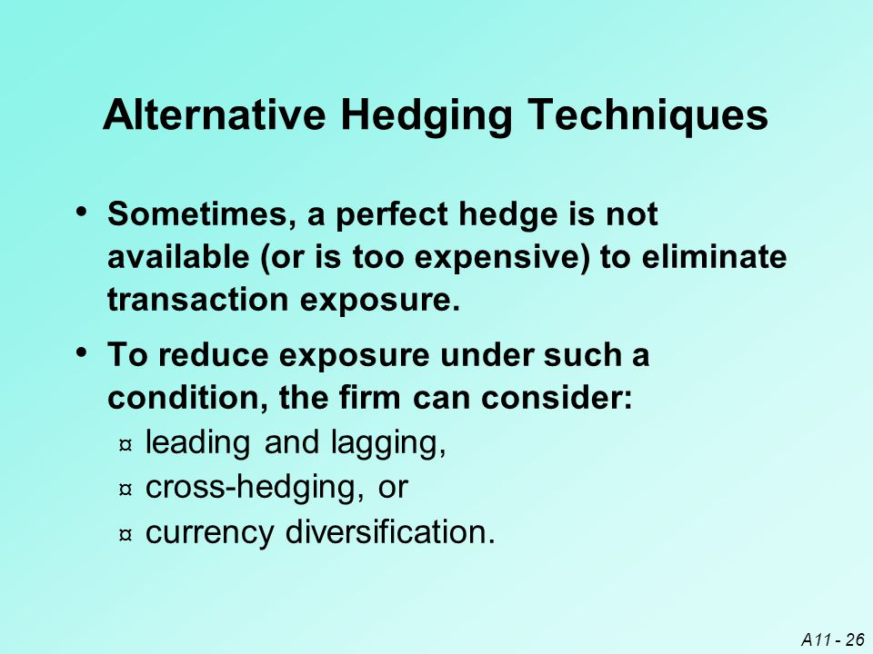 A11 - 26 Alternative Hedging Techniques Sometimes, a perfect hedge is not available (or is too expensive) to eliminate transaction exposure.
