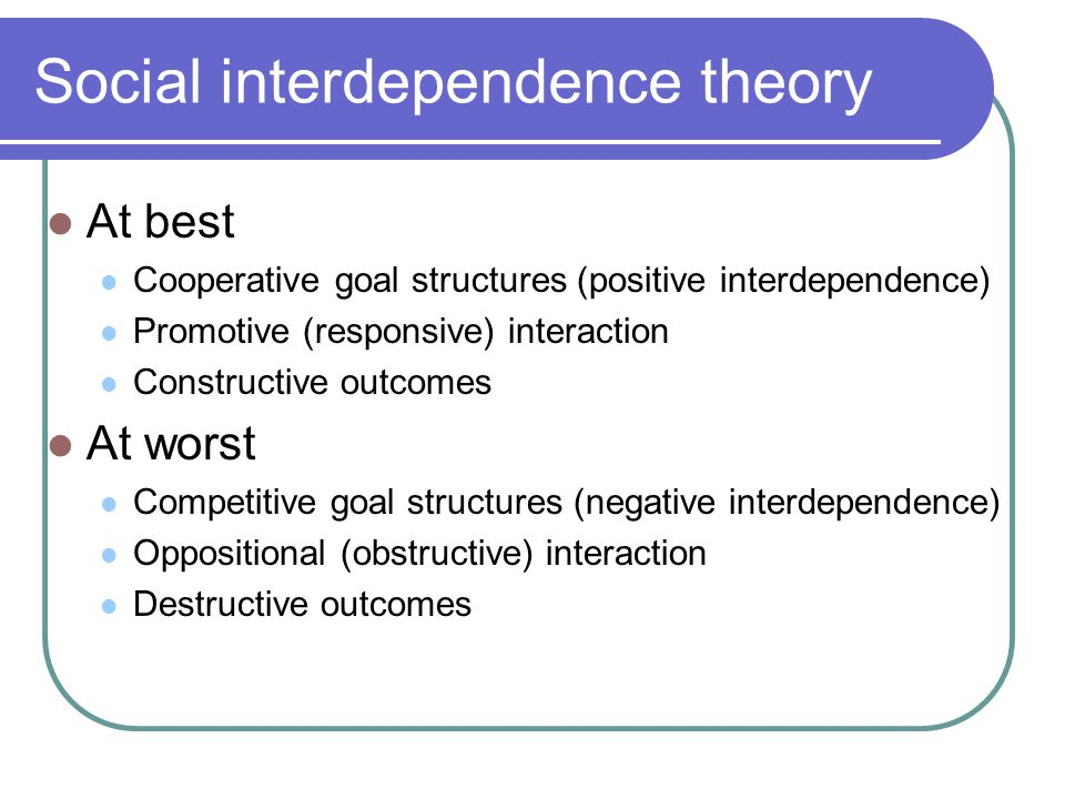 Social interdependence theory At best Cooperative goal structures (positive interdependence) Promotive (responsive) interaction Constructive outcomes At worst Competitive goal structures (negative interdependence) Oppositional (obstructive) interaction Destructive outcomes