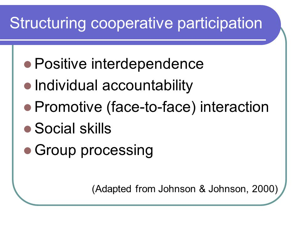 Structuring cooperative participation Positive interdependence Individual accountability Promotive (face-to-face) interaction Social skills Group processing (Adapted from Johnson & Johnson, 2000)