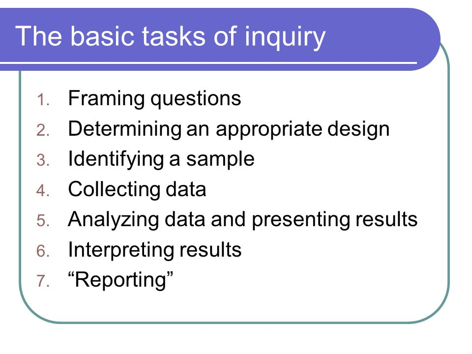 The basic tasks of inquiry 1.Framing questions 2.