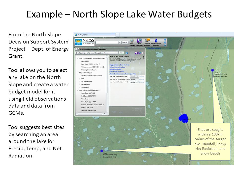 Example – North Slope Lake Water Budgets From the North Slope Decision Support System Project – Dept.
