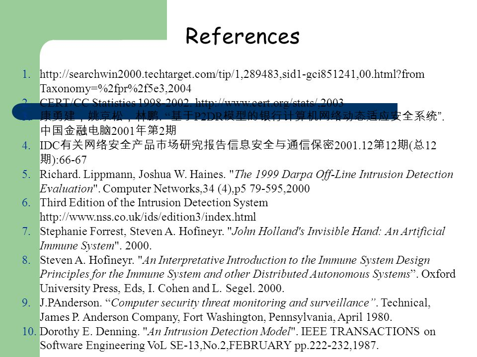 References 1.http://searchwin2000.techtarget.com/tip/1,289483,sid1-gci851241,00.html from Taxonomy=%2fpr%2f5e3,2004 2.CERT/CC Statistics 1998-2002.