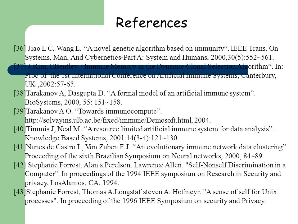 References [36] Jiao L C, Wang L. A novel genetic algorithm based on immunity. IEEE Trans. On Systems, Man, And Cybernetics-Part A: System and Humans,