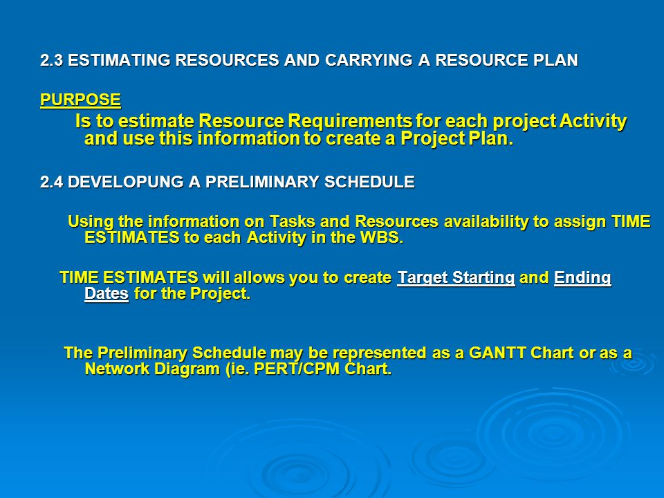 2.3 ESTIMATING RESOURCES AND CARRYING A RESOURCE PLAN PURPOSE Is to estimate Resource Requirements for each project Activity and use this information