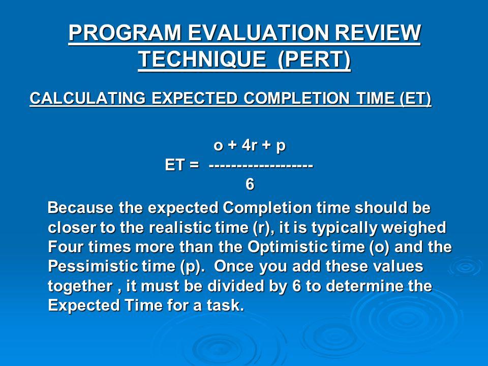 PROGRAM EVALUATION REVIEW TECHNIQUE (PERT) CALCULATING EXPECTED COMPLETION TIME (ET) o + 4r + p ET = ------------------- 6 o + 4r + p ET = -----------