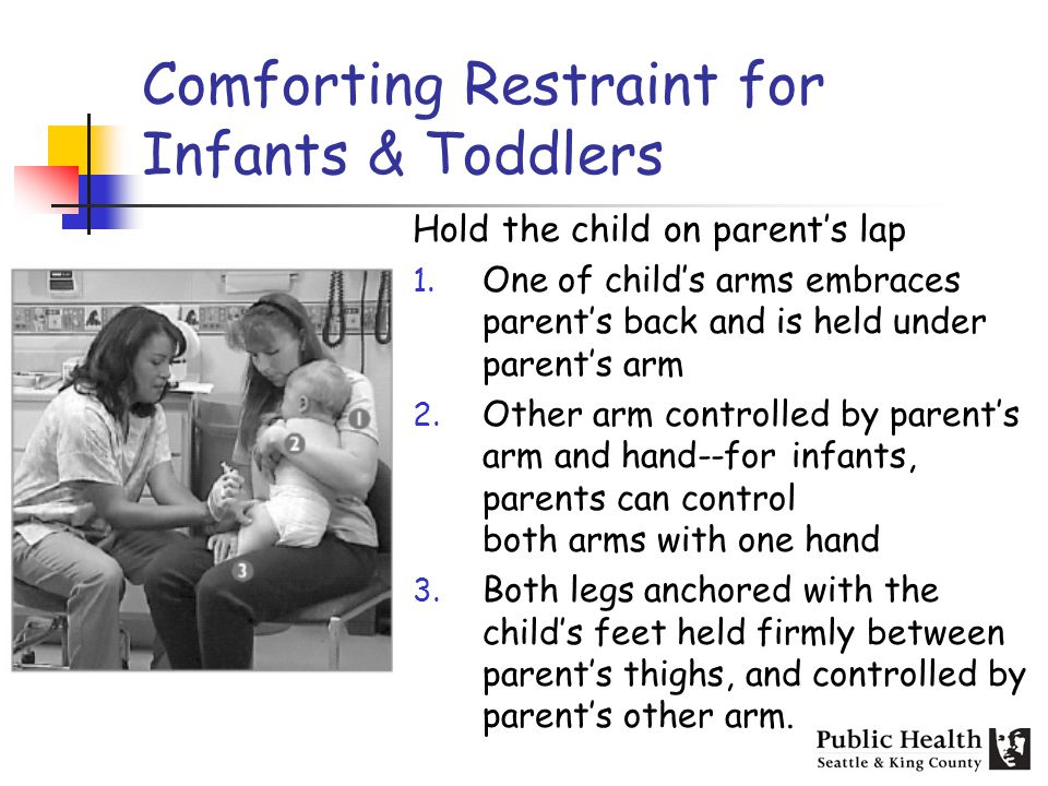 Comforting Restraint for Infants & Toddlers Hold the child on parents lap 1.