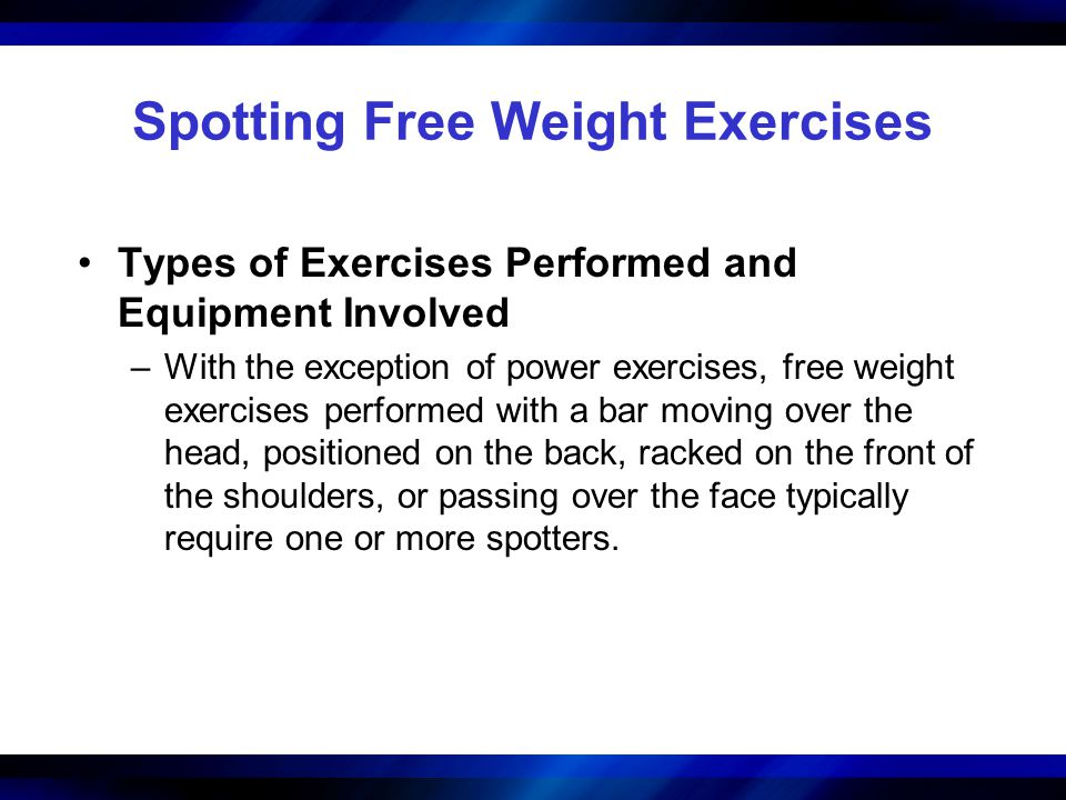 Spotting Free Weight Exercises Types of Exercises Performed and Equipment Involved –With the exception of power exercises, free weight exercises perfo