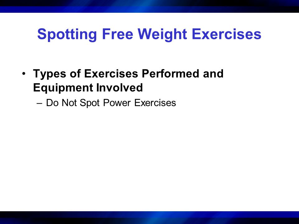 Spotting Free Weight Exercises Types of Exercises Performed and Equipment Involved –Do Not Spot Power Exercises