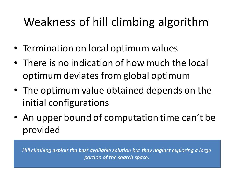 Weakness of hill climbing algorithm Termination on local optimum values There is no indication of how much the local optimum deviates from global optimum The optimum value obtained depends on the initial configurations An upper bound of computation time cant be provided Hill climbing exploit the best available solution but they neglect exploring a large portion of the search space.