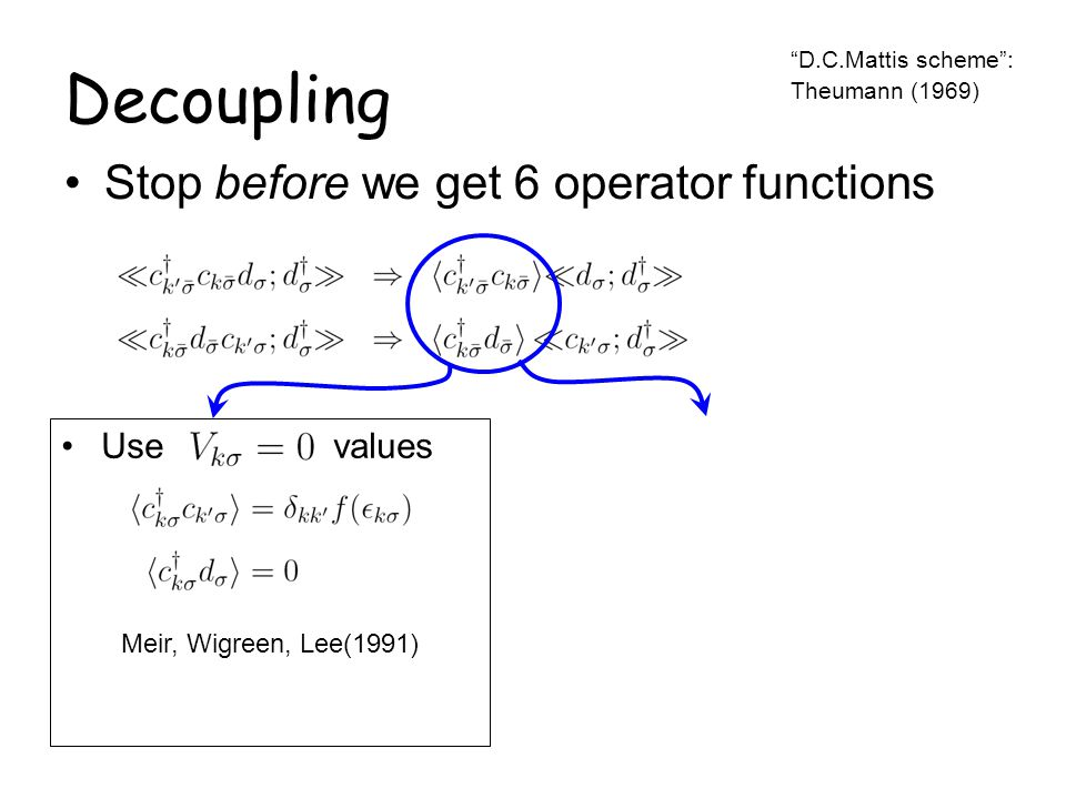 Decoupling Stop before we get 6 operator functions D.C.Mattis scheme: Theumann (1969) spin conservation Use values Meir, Wigreen, Lee(1991)