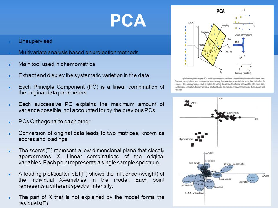 PCA Unsupervised Multivariate analysis based on projection methods Main tool used in chemometrics Extract and display the systematic variation in the data Each Principle Component (PC) is a linear combination of the original data parameters Each successive PC explains the maximum amount of variance possible, not accounted for by the previous PCs PCs Orthogonal to each other Conversion of original data leads to two matrices, known as scores and loadings The scores(T) represent a low-dimensional plane that closely approximates X.