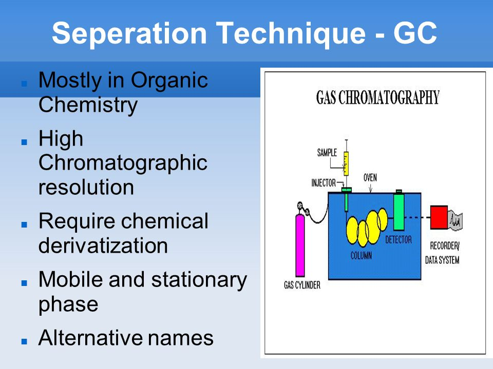 Seperation Technique - GC Mostly in Organic Chemistry High Chromatographic resolution Require chemical derivatization Mobile and stationary phase Alternative names