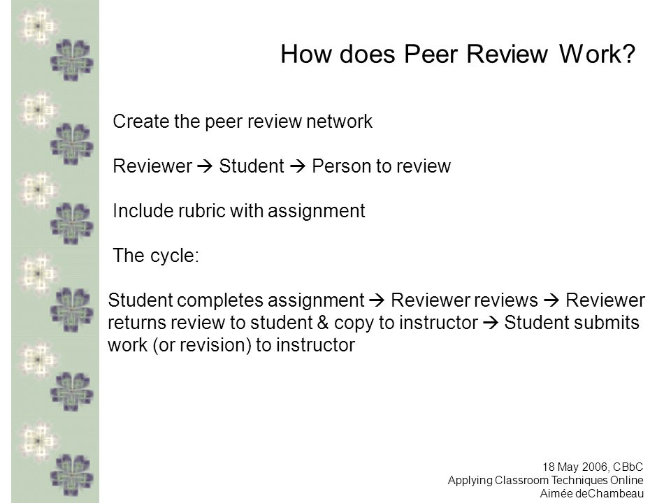 How does Peer Review Work? Create the peer review network Reviewer Student Person to review Include rubric with assignment The cycle: Student complete
