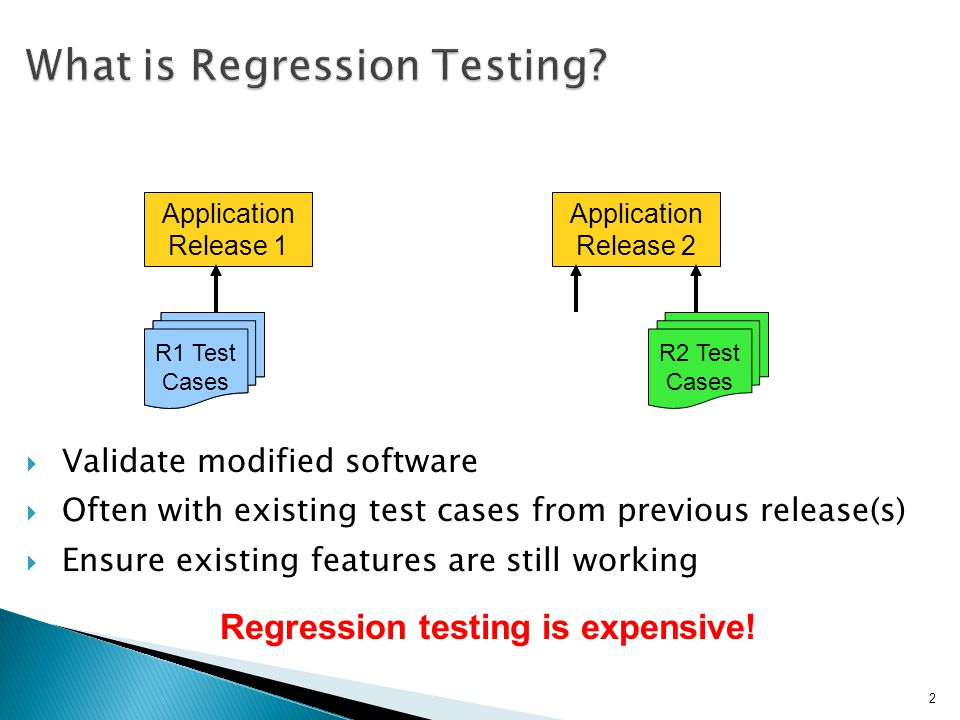 Application Release 1 R1 Test Cases Application Release 2 R2 Test Cases R1 Test Cases 2 Regression testing is expensive.