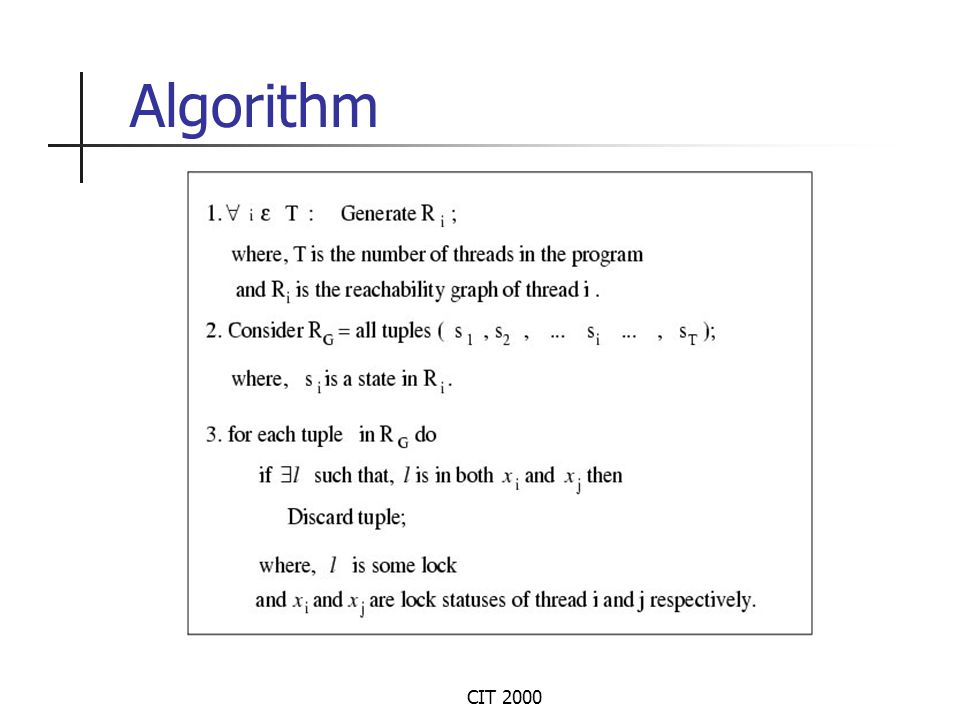 CIT 2000 An Example Thread 1Thread 2 Consider an example application with 2 threads of execution.