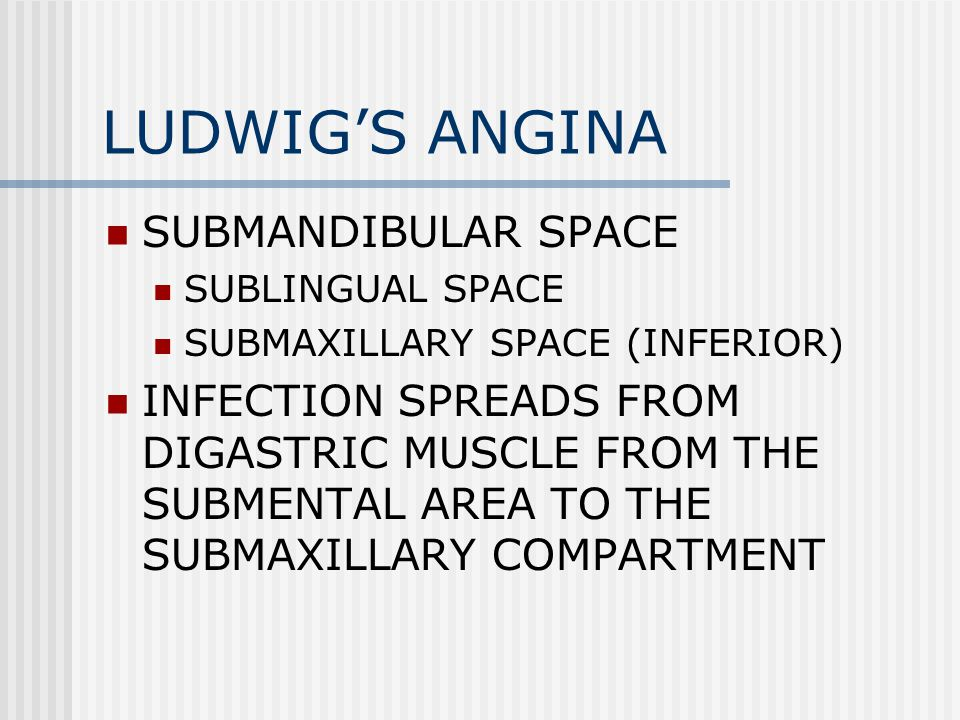 LUDWIGS ANGINA SUBMANDIBULAR SPACE SUBLINGUAL SPACE SUBMAXILLARY SPACE (INFERIOR) INFECTION SPREADS FROM DIGASTRIC MUSCLE FROM THE SUBMENTAL AREA TO THE SUBMAXILLARY COMPARTMENT