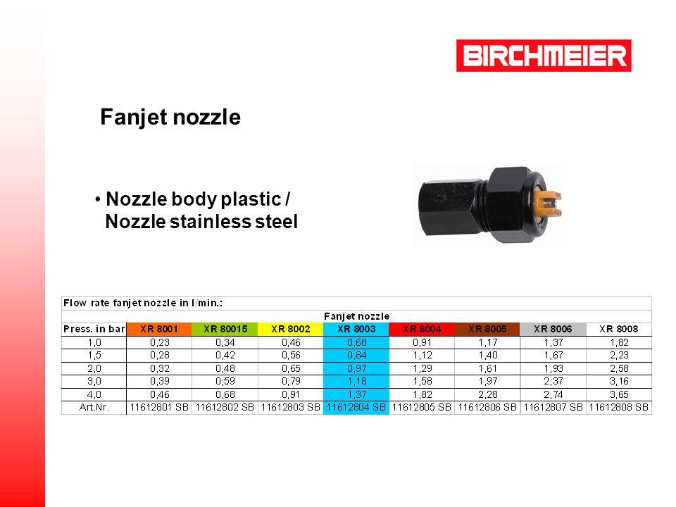 Nozzle body plastic / Nozzle stainless steel Fanjet nozzle