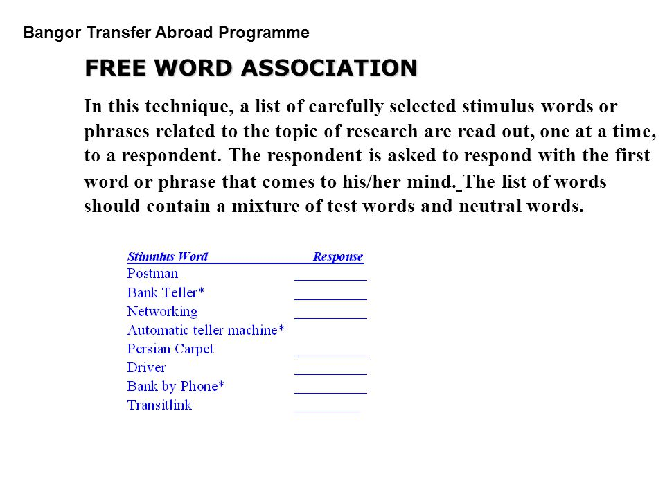 PGDM Bangor Transfer Abroad Programme FREE WORD ASSOCIATION In this technique, a list of carefully selected stimulus words or phrases related to the t