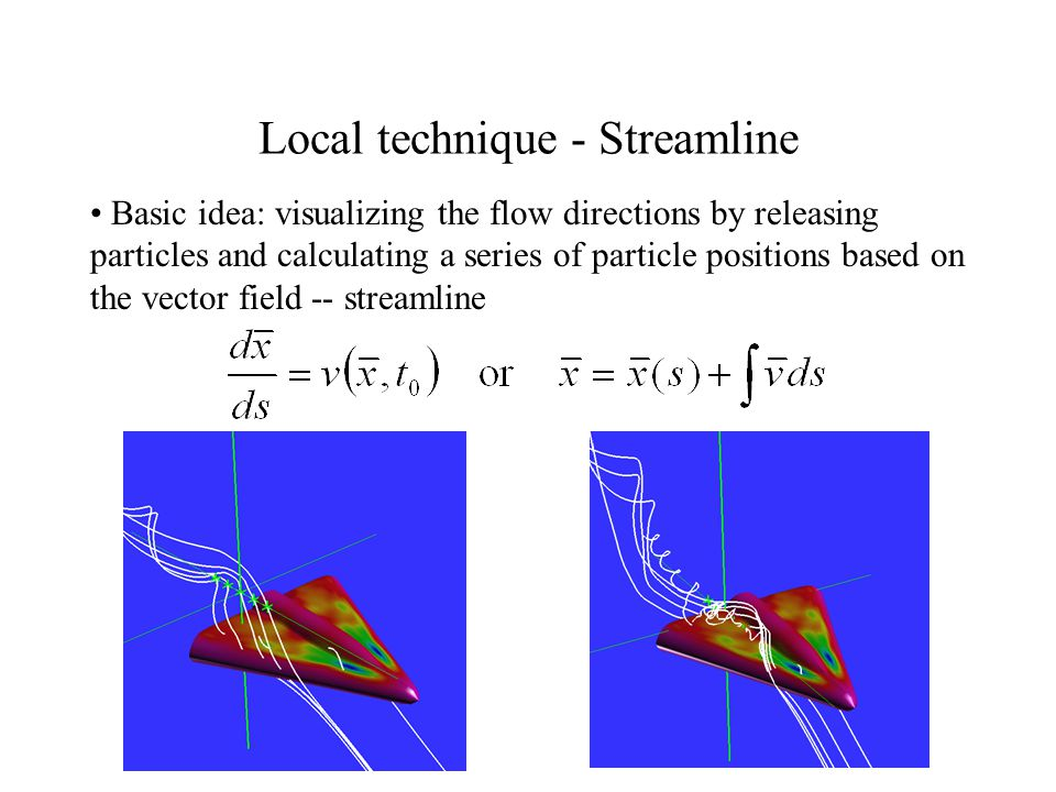 Local technique - Streamline Basic idea: visualizing the flow directions by releasing particles and calculating a series of particle positions based on the vector field -- streamline