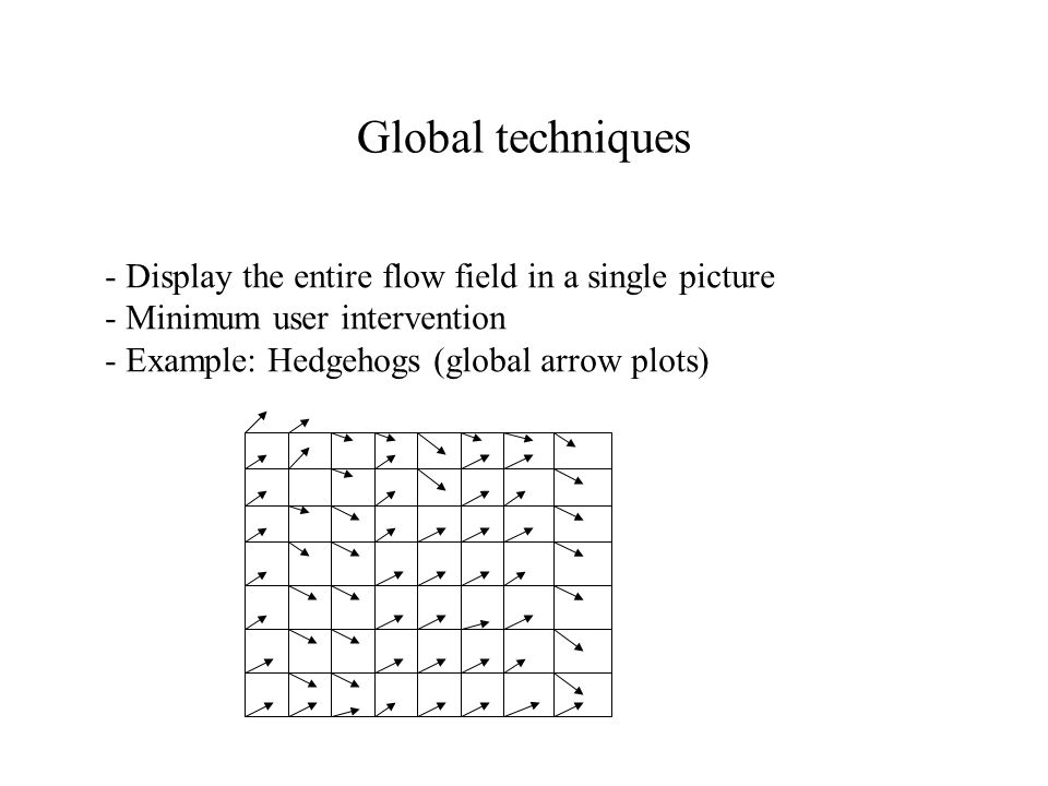 Global techniques - Display the entire flow field in a single picture - Minimum user intervention - Example: Hedgehogs (global arrow plots)