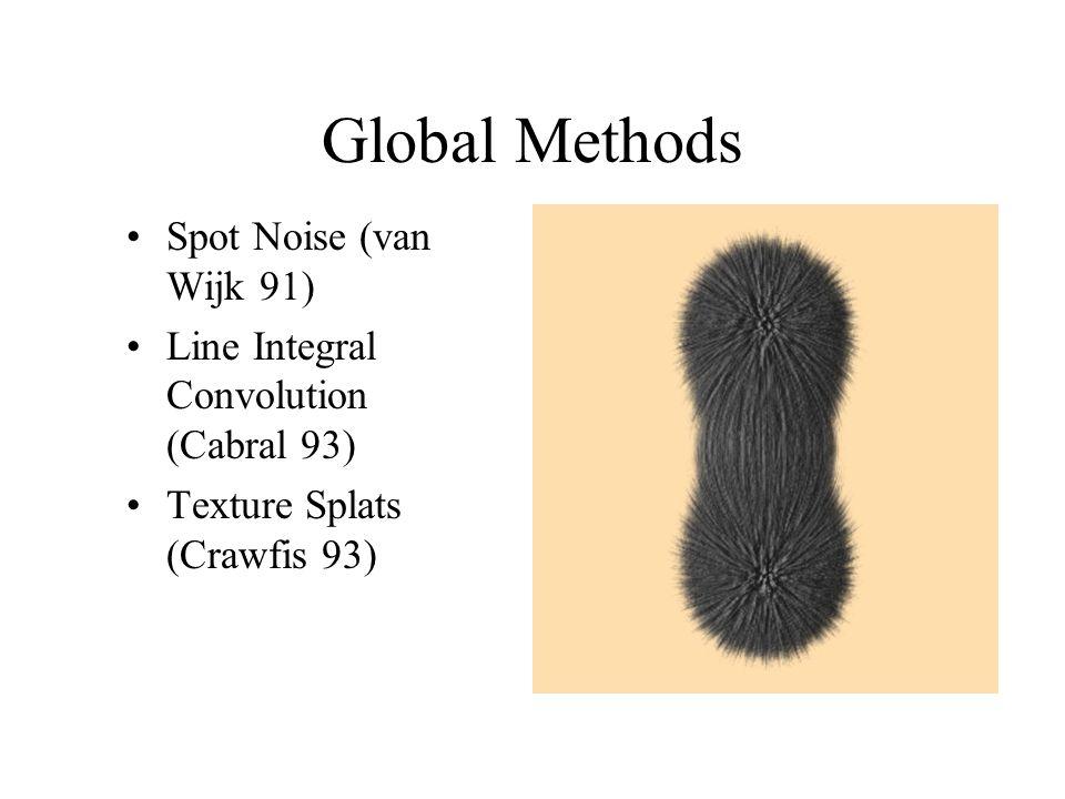 Global Methods Spot Noise (van Wijk 91) Line Integral Convolution (Cabral 93) Texture Splats (Crawfis 93)