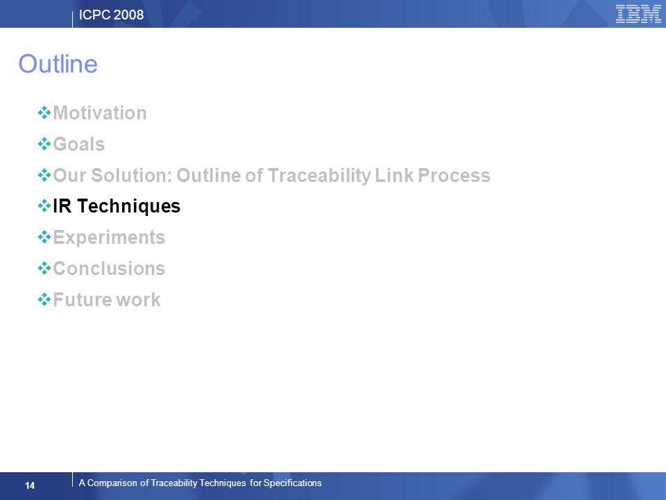ICPC 2008 14 A Comparison of Traceability Techniques for Specifications Outline Motivation Goals Our Solution: Outline of Traceability Link Process IR Techniques Experiments Conclusions Future work