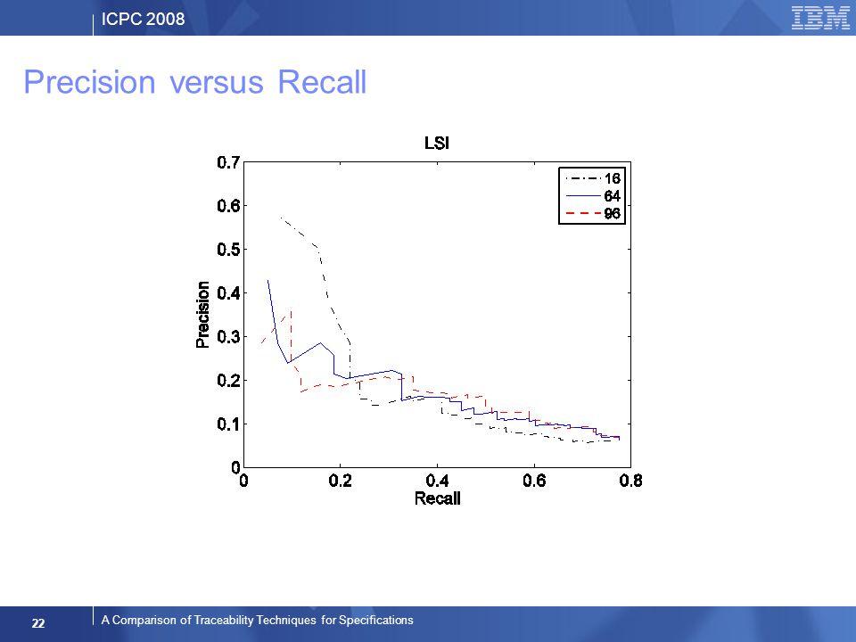 ICPC 2008 22 A Comparison of Traceability Techniques for Specifications Precision versus Recall