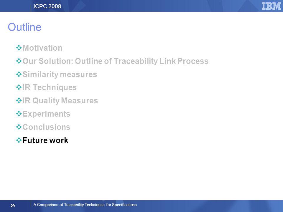 ICPC 2008 29 A Comparison of Traceability Techniques for Specifications Outline Motivation Our Solution: Outline of Traceability Link Process Similarity measures IR Techniques IR Quality Measures Experiments Conclusions Future work