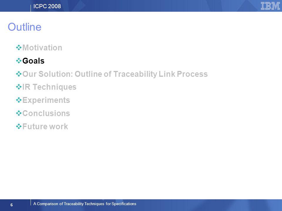 ICPC 2008 6 A Comparison of Traceability Techniques for Specifications Outline Motivation Goals Our Solution: Outline of Traceability Link Process IR Techniques Experiments Conclusions Future work