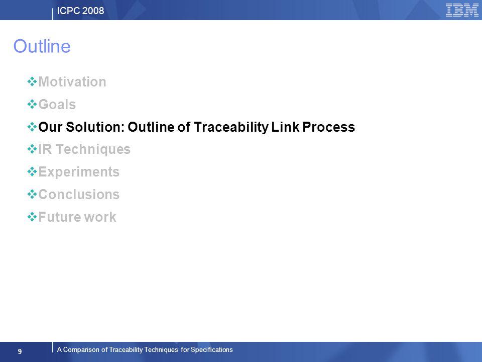 ICPC 2008 9 A Comparison of Traceability Techniques for Specifications Outline Motivation Goals Our Solution: Outline of Traceability Link Process IR Techniques Experiments Conclusions Future work