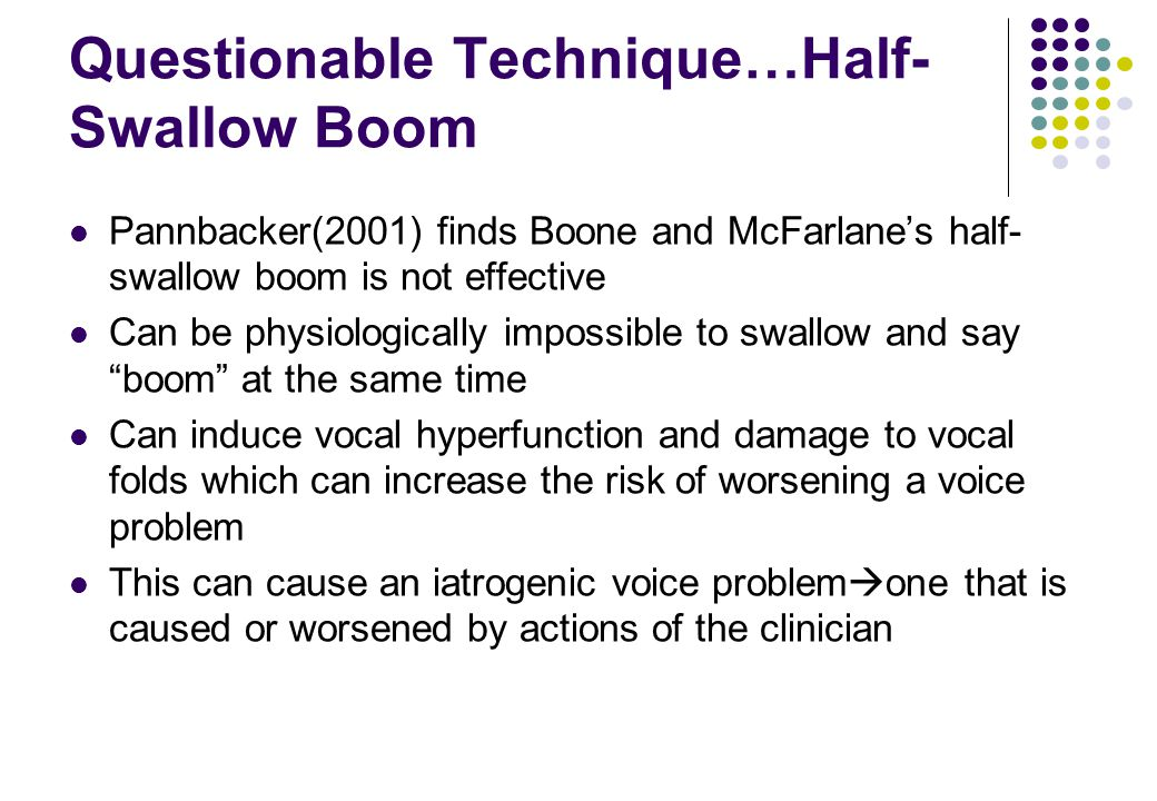 Questionable Technique…Half- Swallow Boom Pannbacker(2001) finds Boone and McFarlanes half- swallow boom is not effective Can be physiologically impos