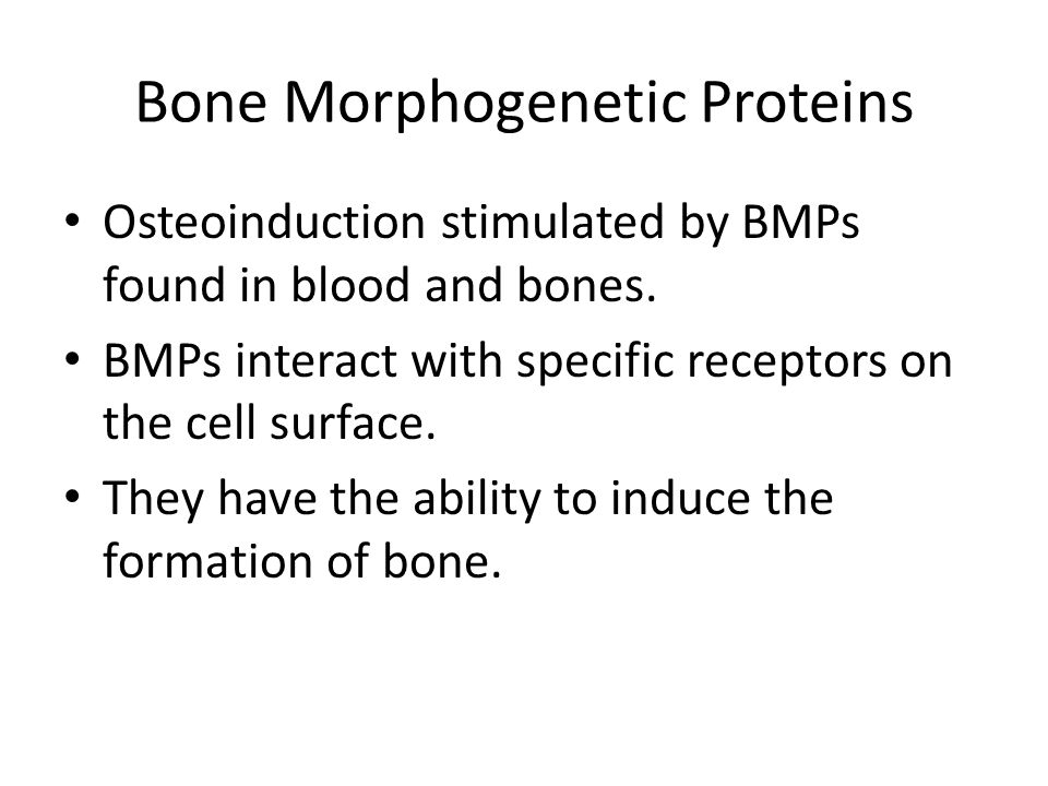Bone Morphogenetic Proteins Osteoinduction stimulated by BMPs found in blood and bones.