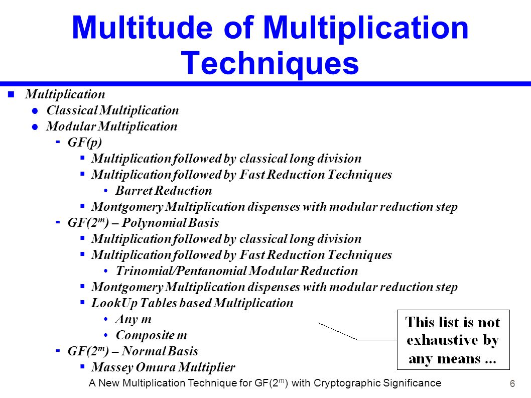 6 A New Multiplication Technique for GF(2 m ) with Cryptographic Significance Multitude of Multiplication Techniques Multiplication Classical Multipli