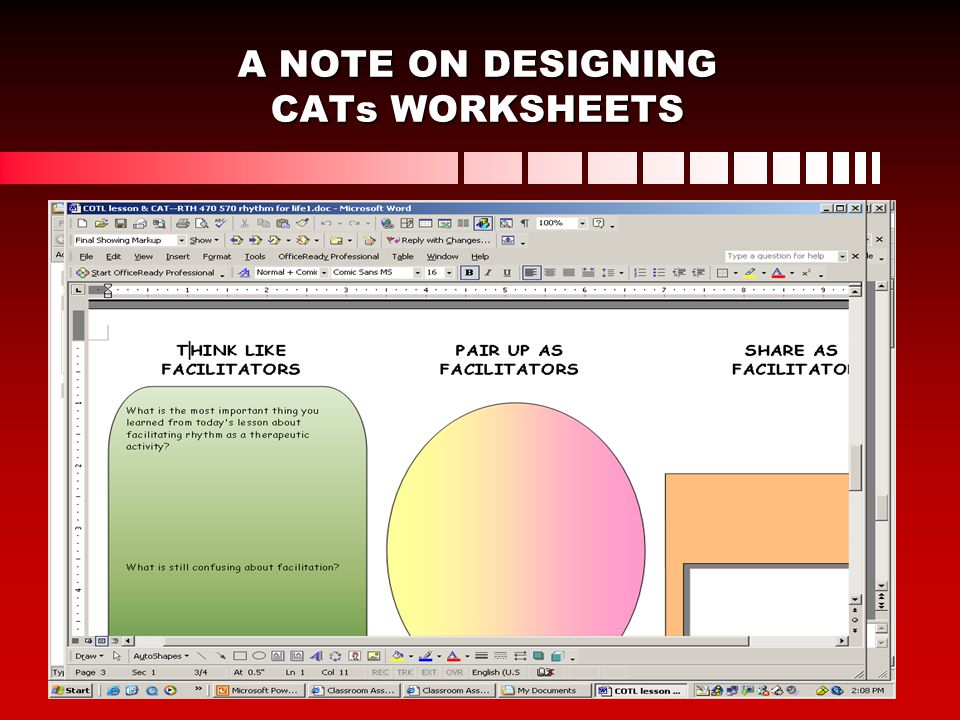 A NOTE ON DESIGNING CATs WORKSHEETS