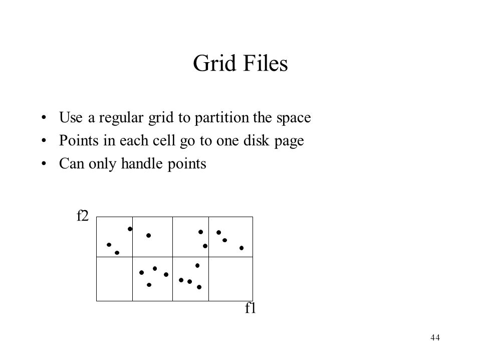 44 Grid Files Use a regular grid to partition the space Points in each cell go to one disk page Can only handle points f2 f1