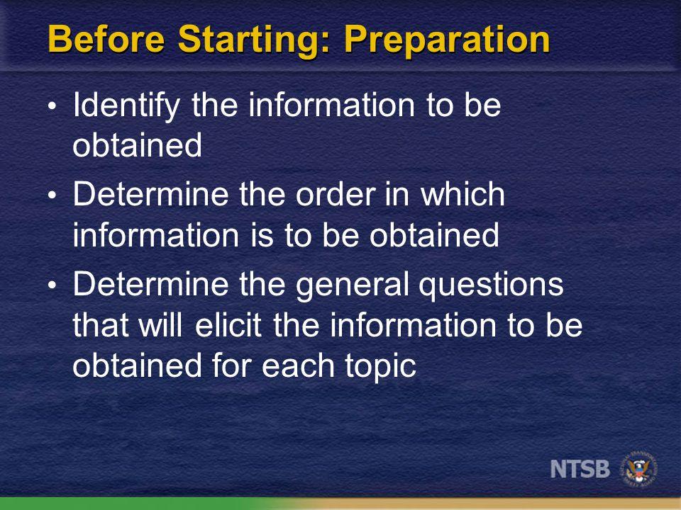 Before starting-preparation