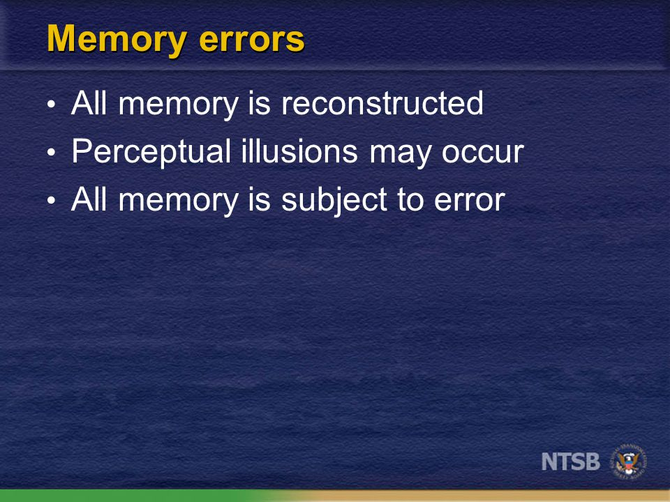 The truth about memory