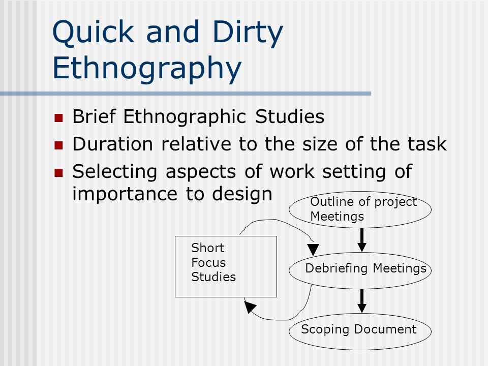 Quick and Dirty Ethnography Brief Ethnographic Studies Duration relative to the size of the task Selecting aspects of work setting of importance to design Outline of project Meetings Debriefing Meetings Scoping Document Short Focus Studies