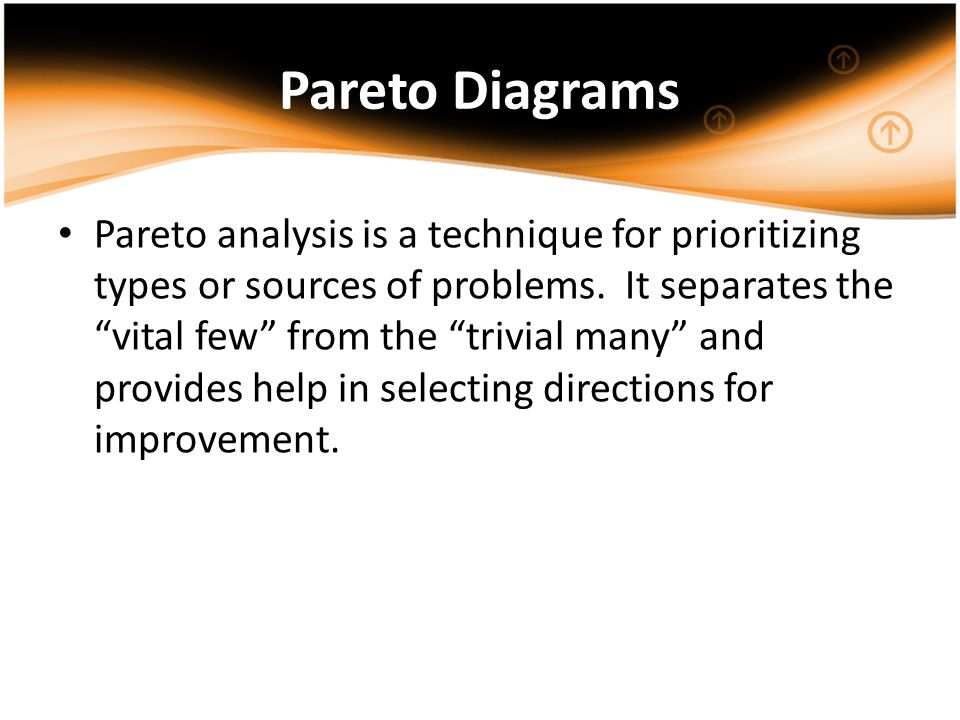 Pareto Diagrams Pareto analysis is a technique for prioritizing types or sources of problems. It separates the vital few from the trivial many and pro