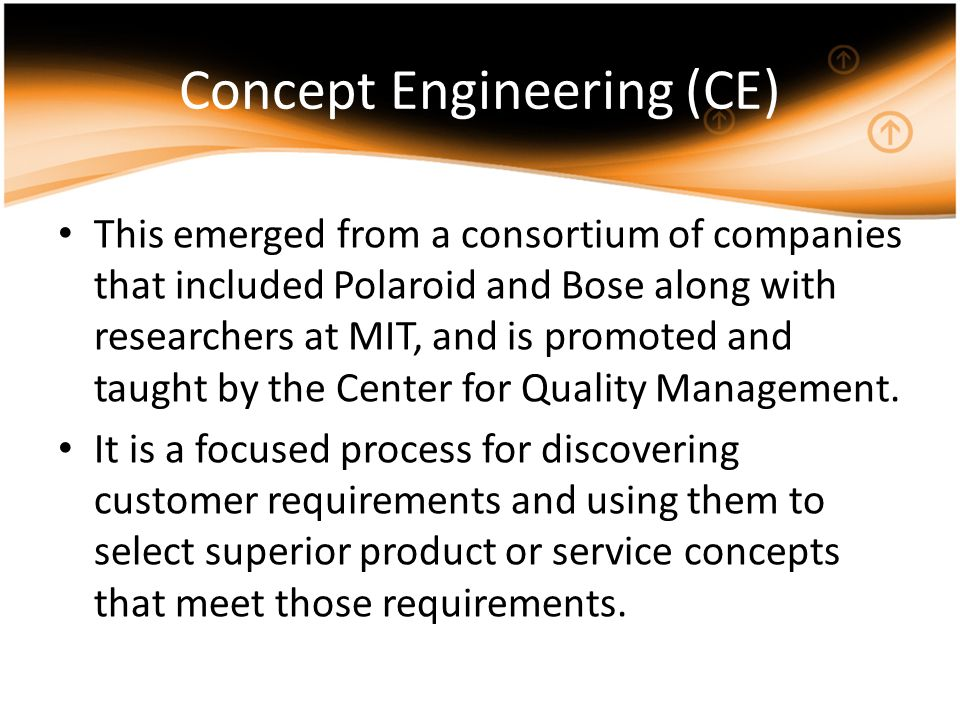 Concept Engineering (CE) This emerged from a consortium of companies that included Polaroid and Bose along with researchers at MIT, and is promoted an