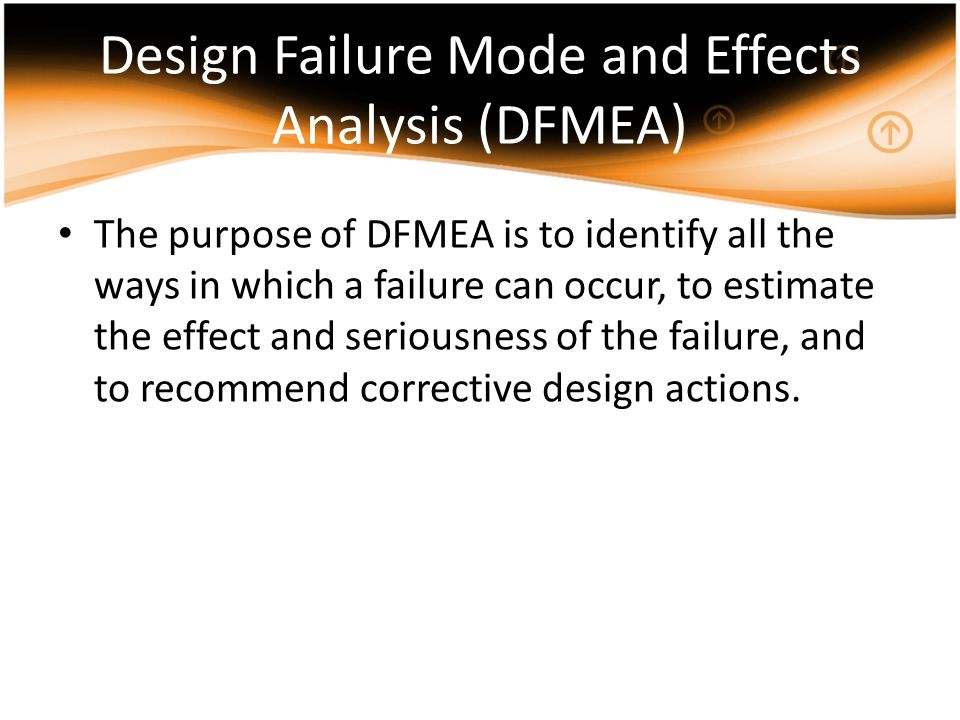 DFMEA usually consists of specifying the following information for each design element or function: Failure Modes – ways in which each element or function can fail.