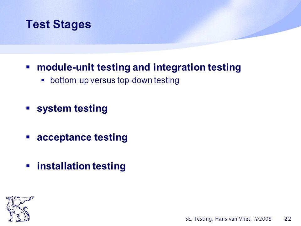 SE, Testing, Hans van Vliet, ©2008 22 Test Stages module-unit testing and integration testing bottom-up versus top-down testing system testing accepta