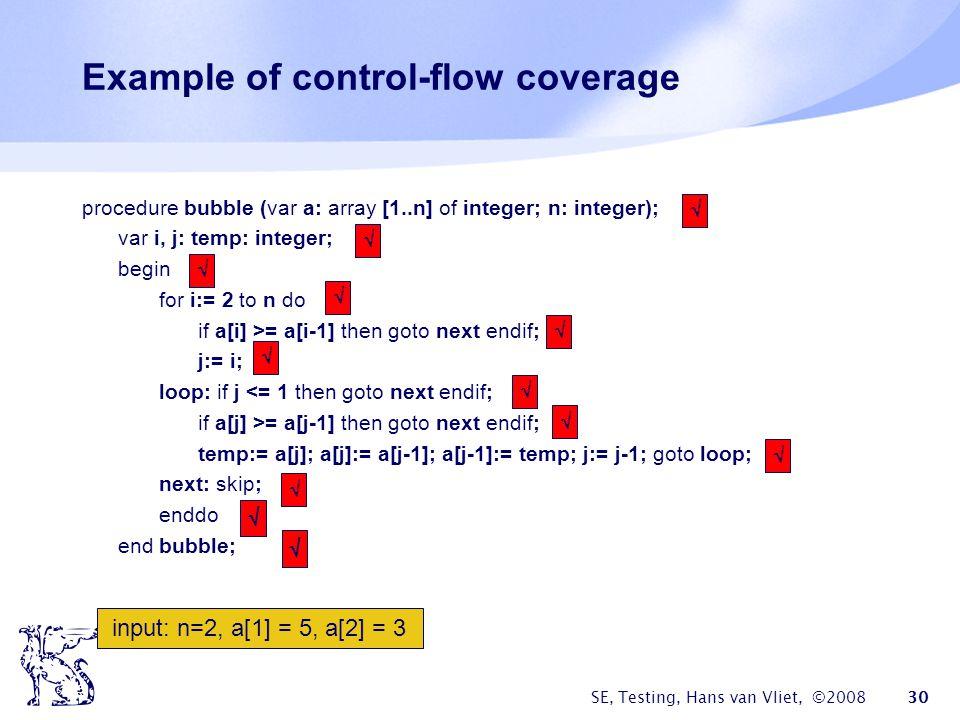 SE, Testing, Hans van Vliet, ©2008 30 Example of control-flow coverage procedure bubble (var a: array [1..n] of integer; n: integer); var i, j: temp: